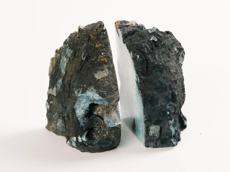 Pair of Organic Quartz Crystal and Turquoise Agate Bookends In Excellent Condition For Sale In Stamford, CT