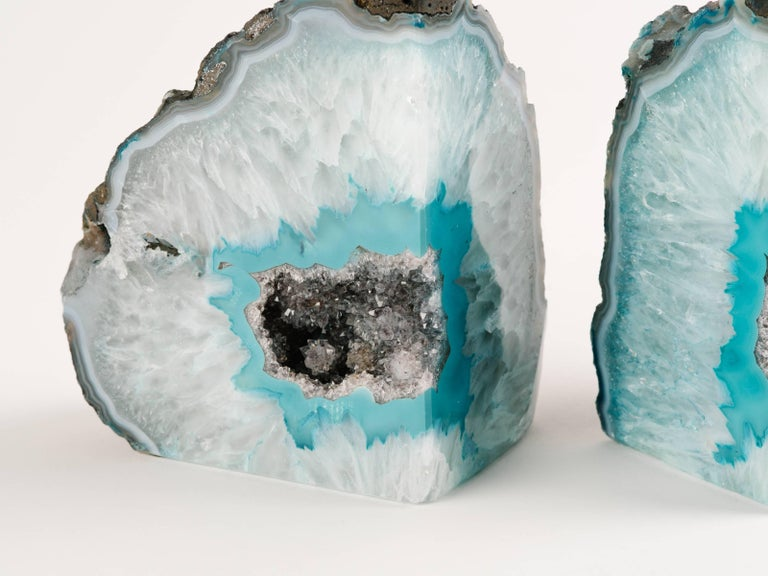 Pair of Organic Quartz Crystal and Turquoise Agate Bookends For Sale 2
