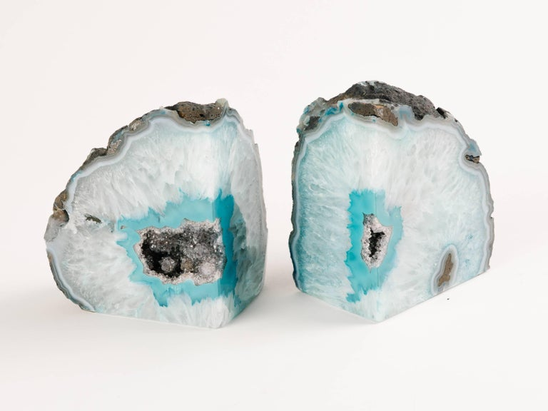 Pair of Organic Quartz Crystal and Turquoise Agate Bookends For Sale 1