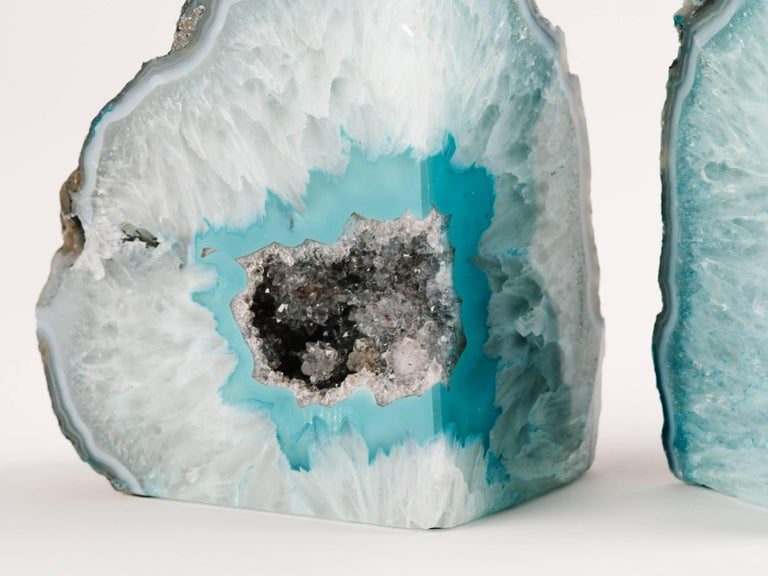 Contemporary Pair of Organic Quartz Crystal and Turquoise Agate Bookends For Sale