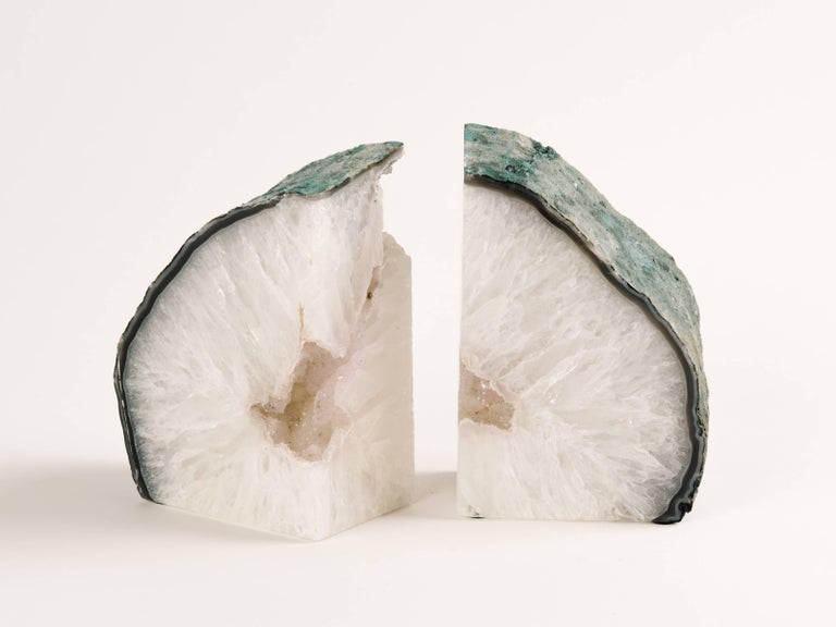 Pair of Chunky Quartz Crystal Bookends with Oxidized Green Edges 3