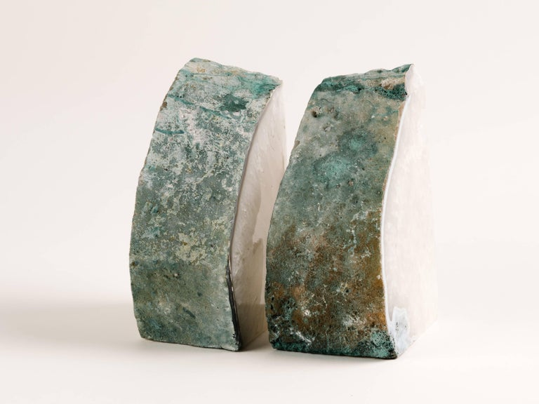 Pair of Chunky Quartz Crystal Bookends with Oxidized Green Edges 8