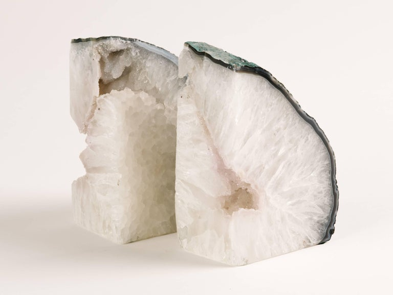 Pair of Chunky Quartz Crystal Bookends with Oxidized Green Edges 9