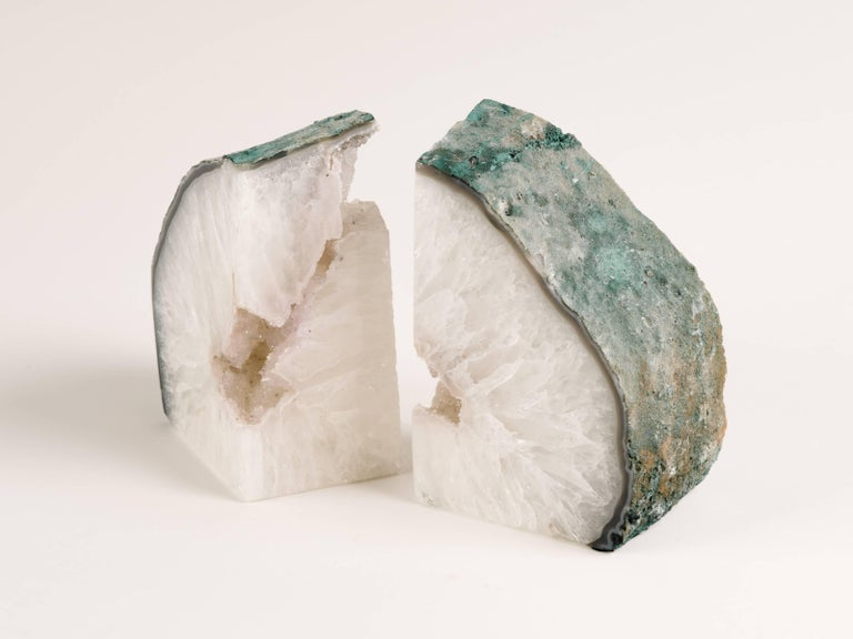 Pair of Chunky Quartz Crystal Bookends with Oxidized Green Edges 7