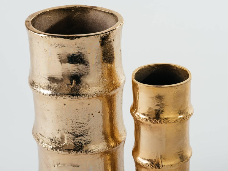 Cast Pair of Handmade Bamboo Vases in 24-Karat Gold-Plated Metal For Sale