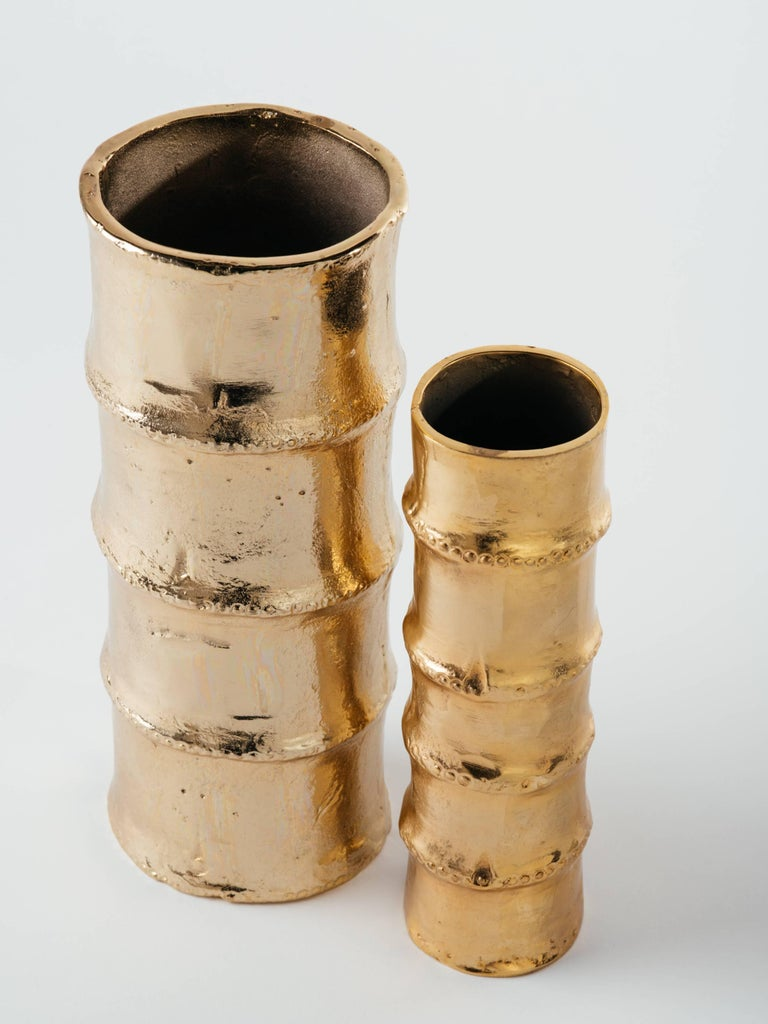Hollywood Regency Pair of Handmade Bamboo Vases in 24-Karat Gold-Plated Metal For Sale