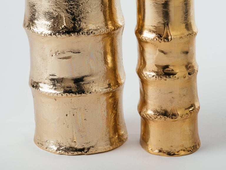Pair of Handmade Bamboo Vases in 24-Karat Gold-Plated Metal In Excellent Condition For Sale In Stamford, CT