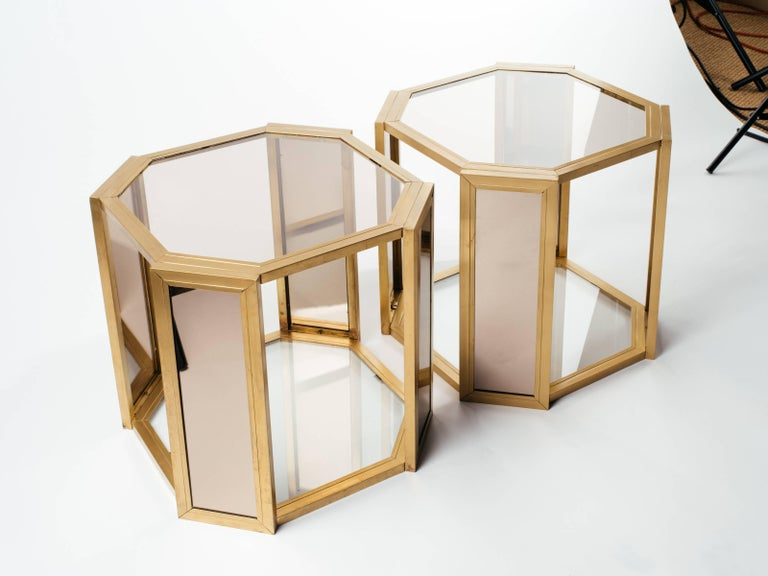 Pair of Hollywood Regency Hexagon End Tables in Brass and Smoked Glass 2