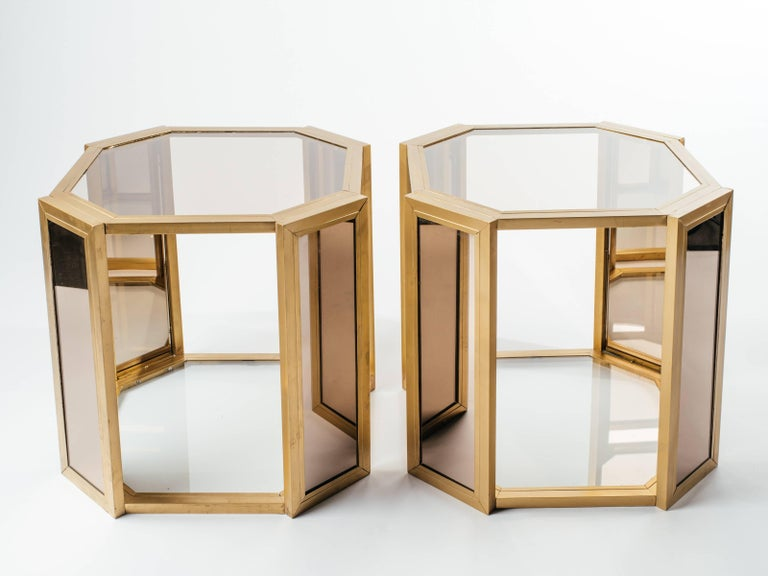 Pair of Hollywood Regency Hexagon End Tables in Brass and Smoked Glass 3