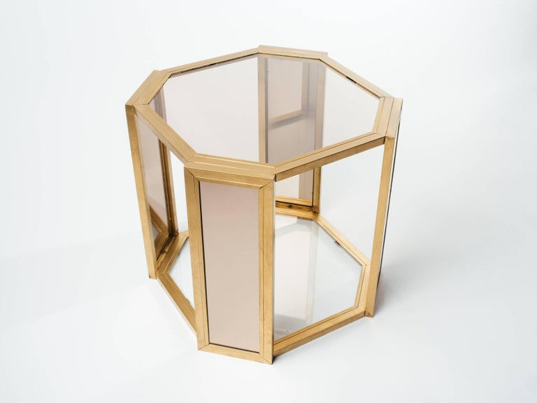 Pair of Hollywood Regency Hexagon End Tables in Brass and Smoked Glass 4