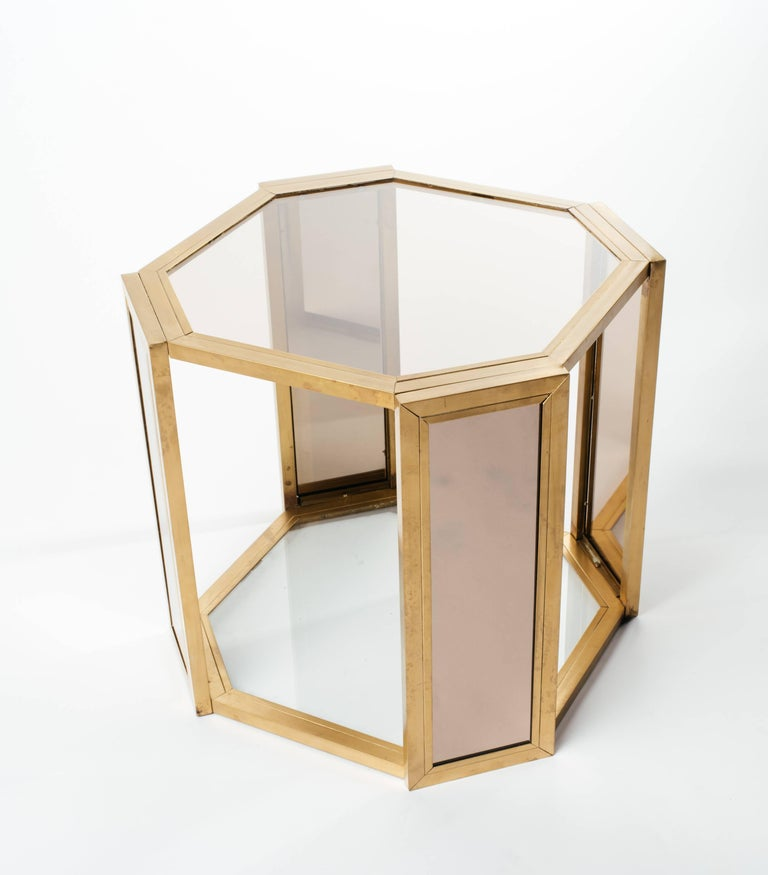 Pair of Hollywood Regency Hexagon End Tables in Brass and Smoked Glass 5