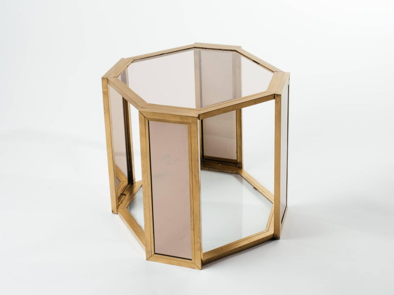 Pair of Hollywood Regency Hexagon End Tables in Brass and Smoked Glass 6