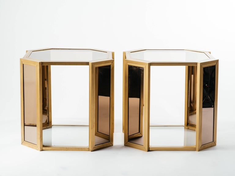 Pair of Hollywood Regency Hexagon End Tables in Brass and Smoked Glass 9
