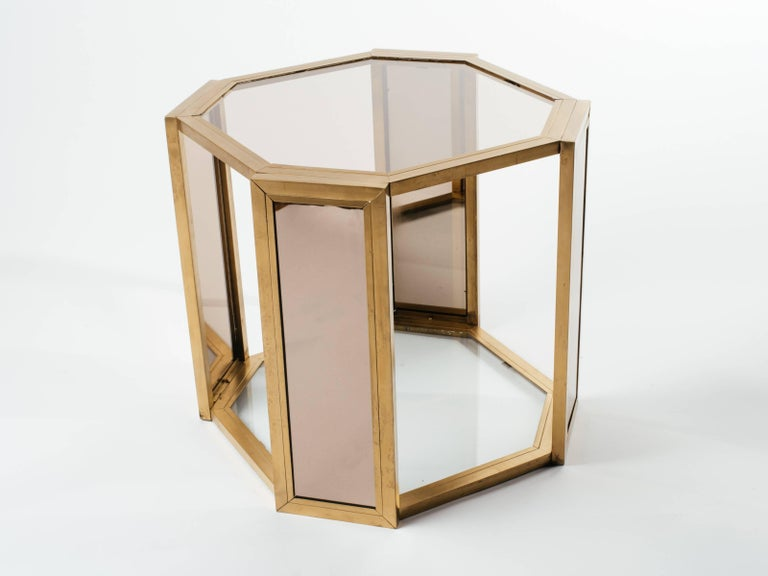 Pair of Hollywood Regency Hexagon End Tables in Brass and Smoked Glass 10