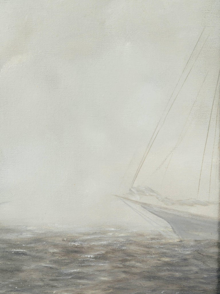 "Mid-20th Century Vintage Impressionism Painting ""Sailboats in Morning Fog"" For Sale"
