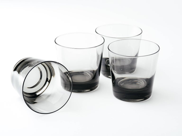 Swedish Set of Four Mid-Century Modern Smoked Grey Barware Glasses For Sale
