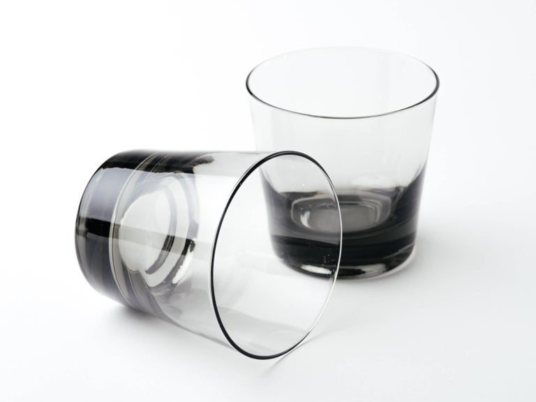 Blown Glass Set of Four Mid-Century Modern Smoked Grey Barware Glasses For Sale