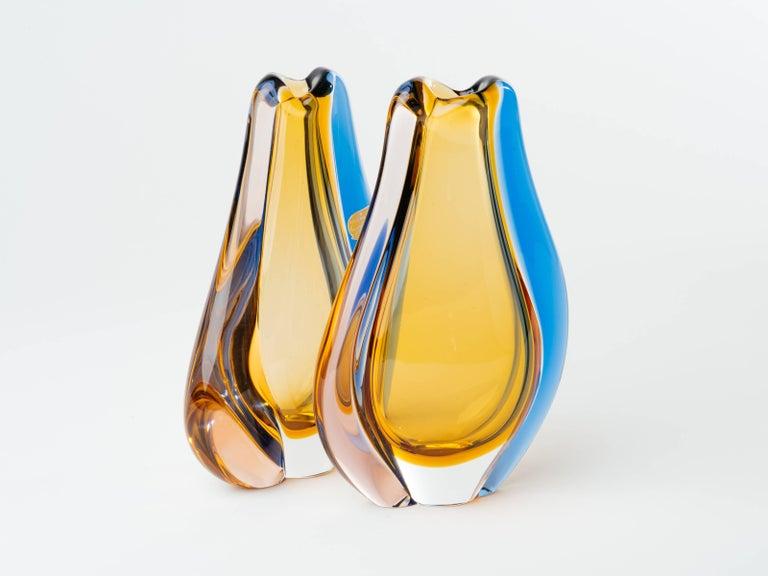 Blown Glass Pair of Czech Republic Mid-Century Modern Teardrop Glass Vases For Sale