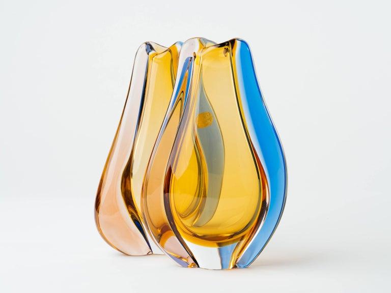 Pair of Czech Republic Mid-Century Modern Teardrop Glass Vases For Sale 2