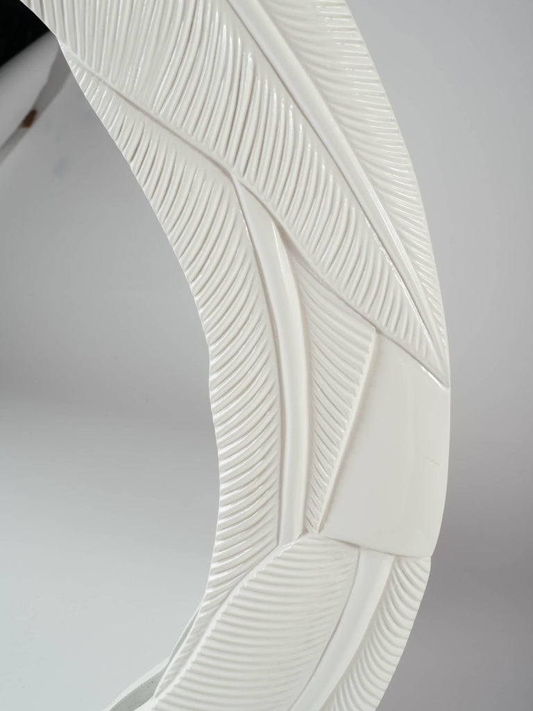 Mid-20th Century Art Deco Cream Lacquered Mirror with Banana Leaf Design For Sale