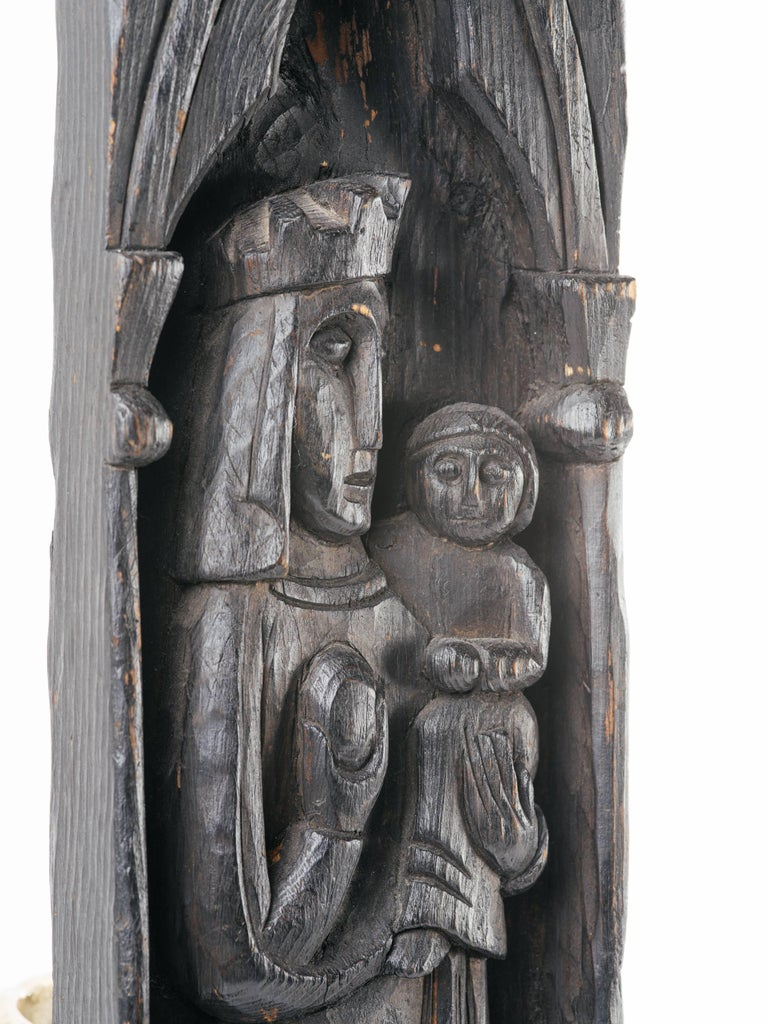 English Victorian Gothic Wood Carving of Madonna and Child For Sale