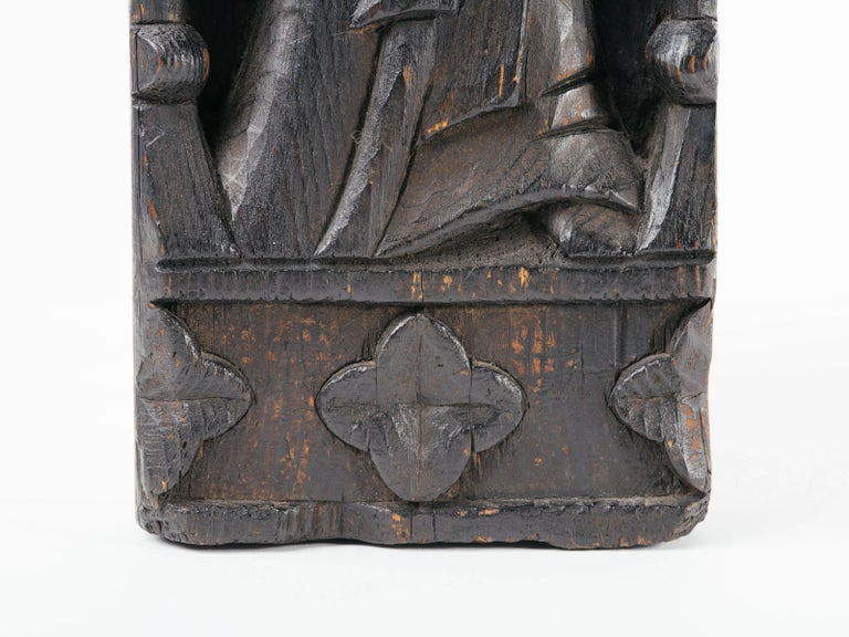 Late 19th Century Victorian Gothic Wood Carving of Madonna and Child For Sale