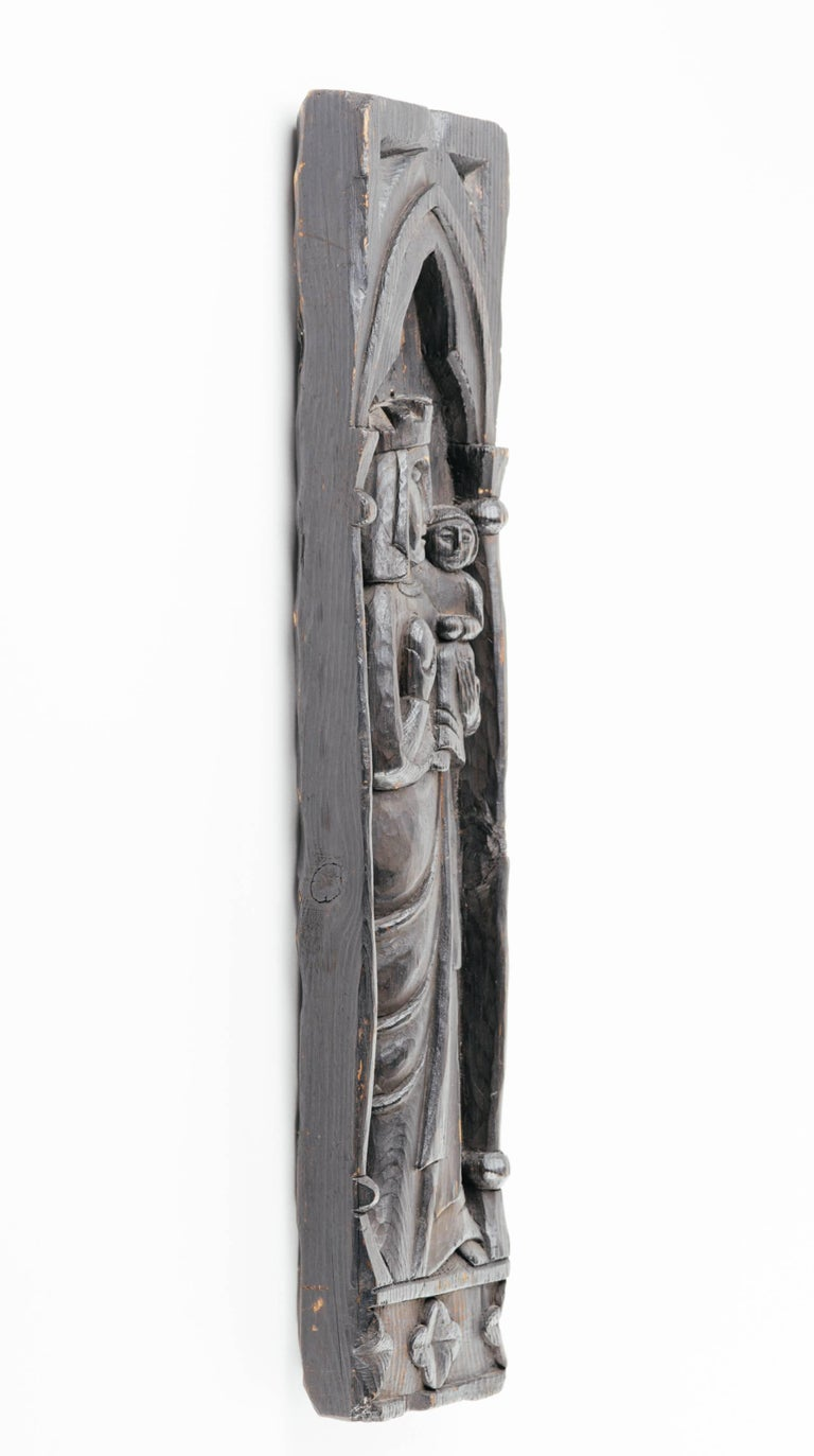Victorian Gothic Wood Carving of Madonna and Child For Sale 1