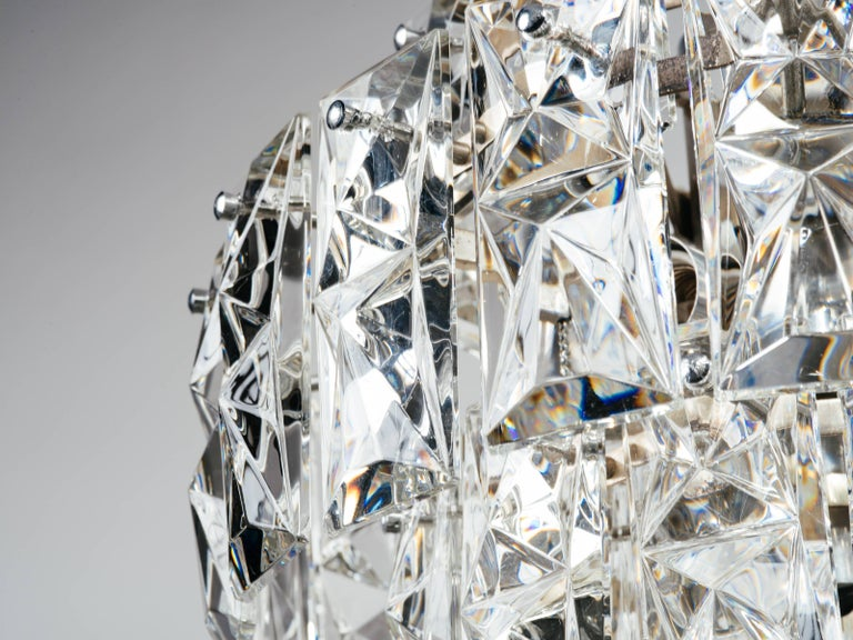 Mid-20th Century Exquisite German Mid-Century Modern Faceted Crystal Chandelier For Sale