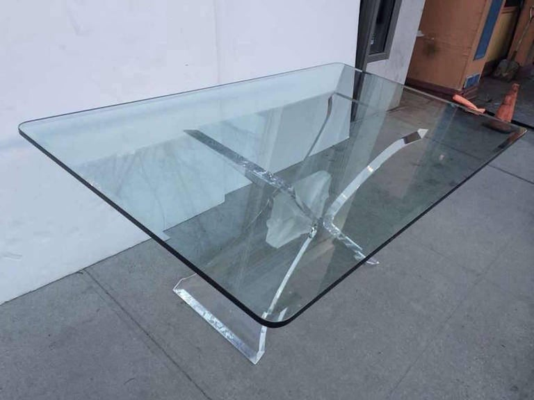 American Mid-Century Modern Lucite and Glass Dining Table by Lion in Frost For Sale