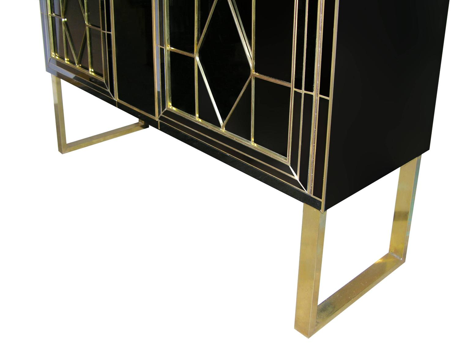 Italian Art Deco Style Black Glass Cabinet Bar With Bronze
