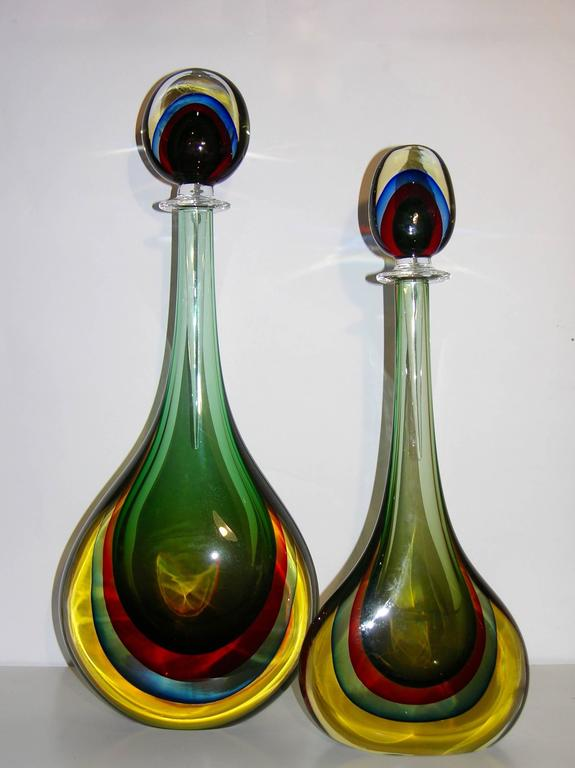 Formia Modern Italian Red Blue Yellow and Green Murano Glass Monumental Bottles  In Excellent Condition For Sale In New York, NY