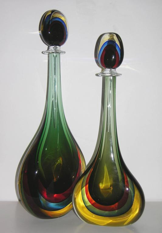 Formia Modern Italian Red Blue Yellow and Green Murano Glass Monumental Bottles  For Sale 2