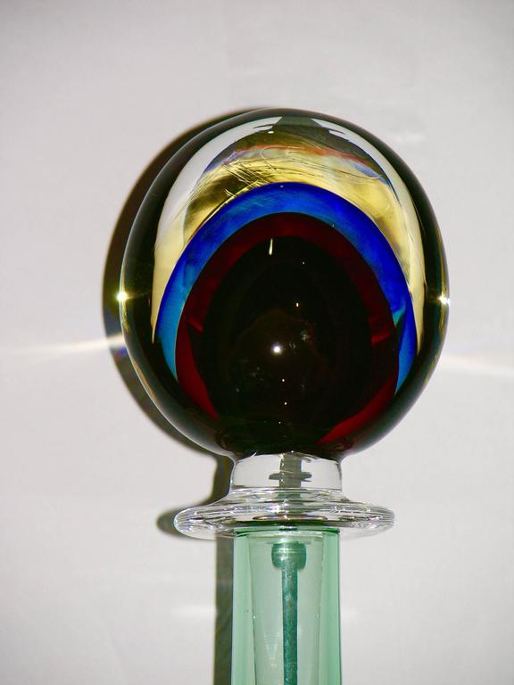 Late 20th Century Formia Modern Italian Red Blue Yellow and Green Murano Glass Monumental Bottles  For Sale