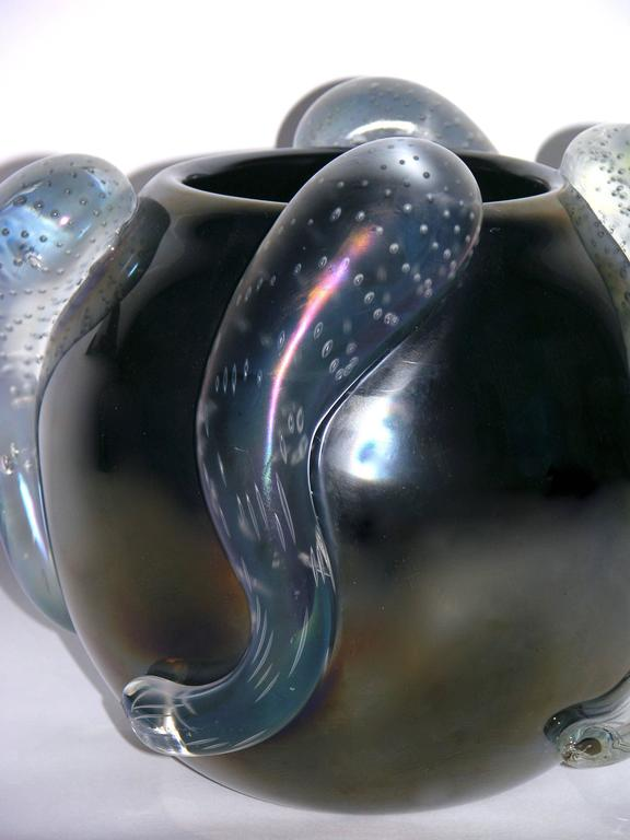 Hand-Crafted Costantini Italian Pair of Sculpture Iridescent Black Murano Glass Round Vases For Sale