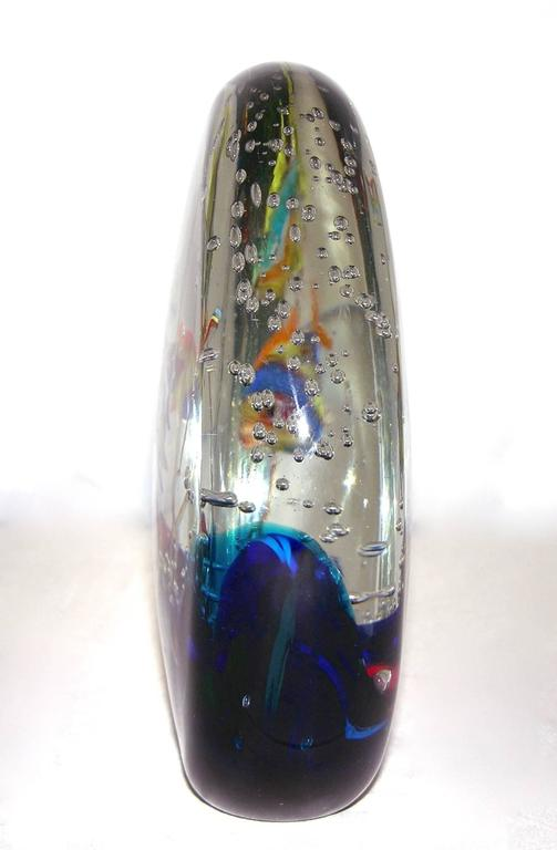 Hand-Crafted Alberto Dona 1980 Blue Red Yellow Green Murano Glass Aquarium Round Sculpture For Sale