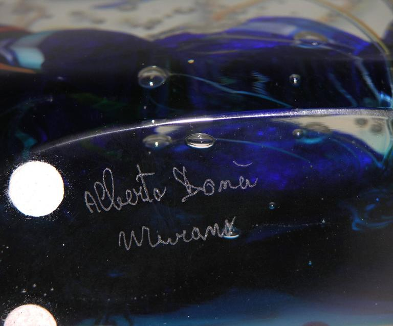 Alberto Dona 1980 Blue Red Yellow Green Murano Glass Aquarium Round Sculpture For Sale 2