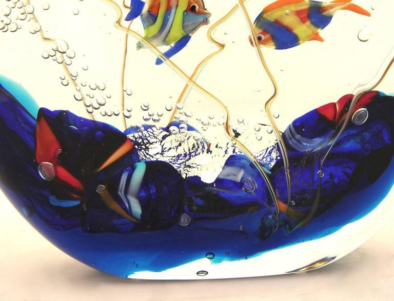 Italian Alberto Dona 1980 Blue Red Yellow Green Murano Glass Aquarium Round Sculpture For Sale
