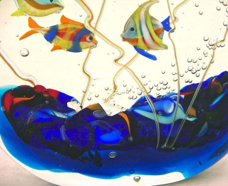 Alberto Dona 1980 Blue Red Yellow Green Murano Glass Aquarium Round Sculpture For Sale 1
