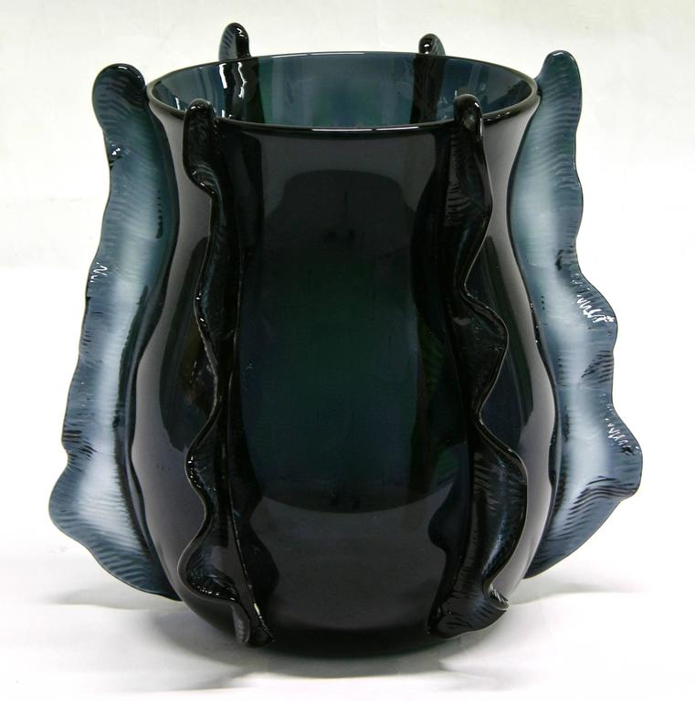 Contemporary Formia 2009 Italian Pair of Organic Avio Blue Murano Glass Modern Vases For Sale