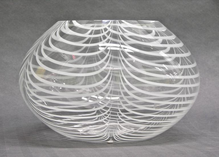 Formia 1970s Modern Italian Crystal Murano Glass Bowl With