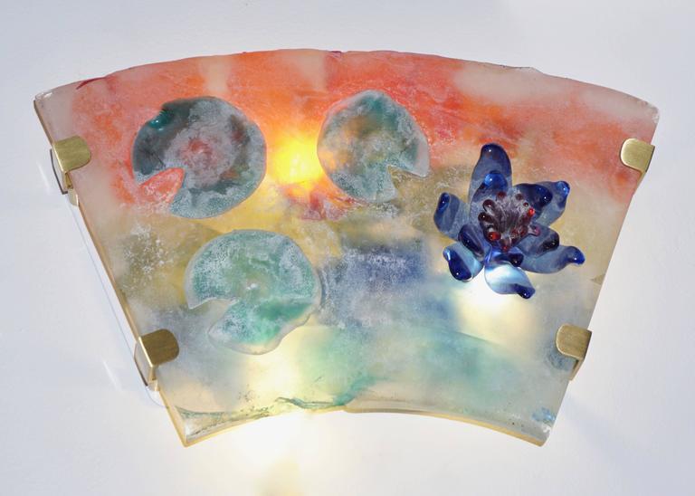 1950s Cenedese Italian Pair of Orange Blue Green Scavo Murano Glass Sconces For Sale 1