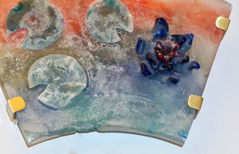 1950s Cenedese Italian Pair of Orange Blue Green Scavo Murano Glass Sconces For Sale 3