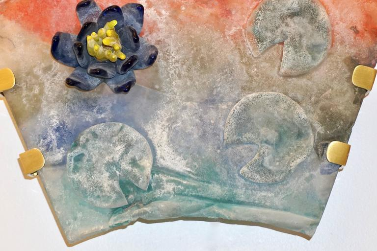 1950s Cenedese Italian Pair of Orange Blue Green Scavo Murano Glass Sconces For Sale 2