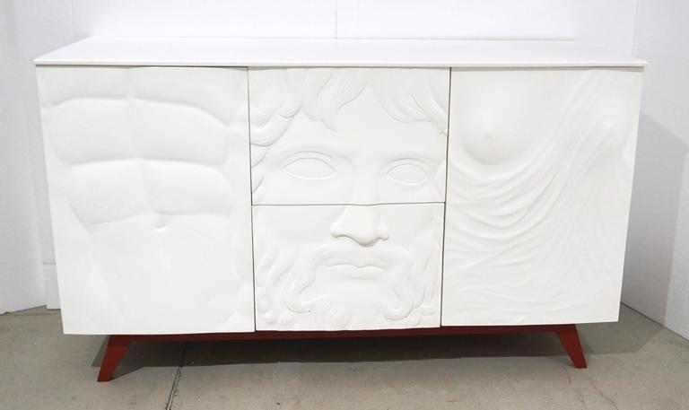 Contemporary Fine Design Italian White Sideboard/Cabinet with Burgundy Wood Legs 2