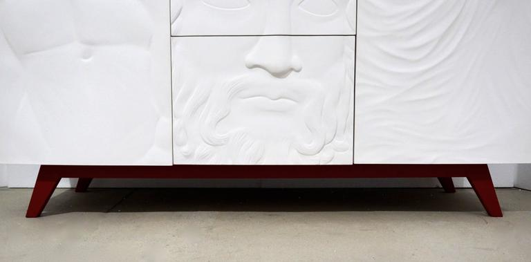 Contemporary Fine Design Italian White Sideboard/Cabinet with Burgundy Wood Legs 5