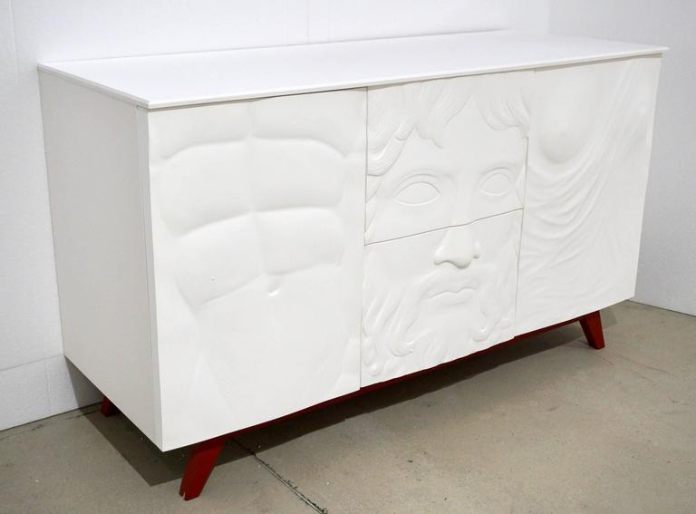 Contemporary Fine Design Italian White Sideboard/Cabinet with Burgundy Wood Legs 8