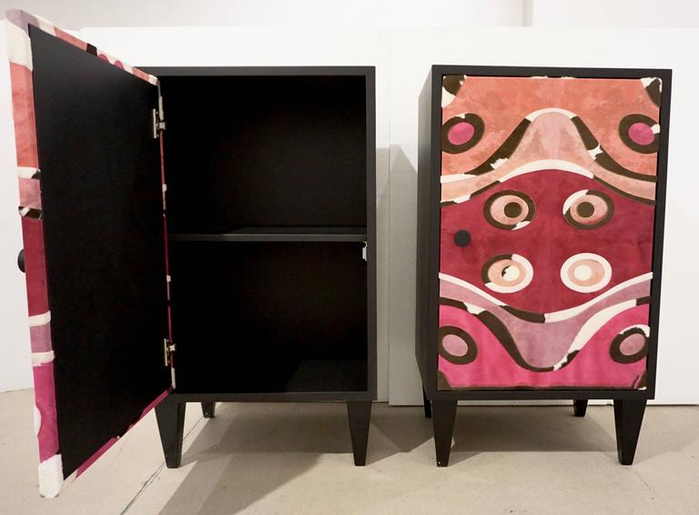 Post-Modern Contemporary Italian Pair of Black Lacquered and Rose Pink Leather Side Cabinets For Sale