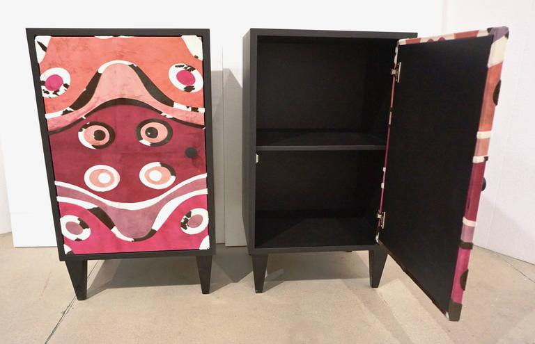 Dyed Contemporary Italian Pair of Black Lacquered and Rose Pink Leather Side Cabinets For Sale