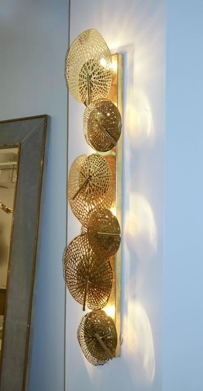Contemporary Organic Italian Design Pair of Perforated Brass Leaf Sconces For Sale 5