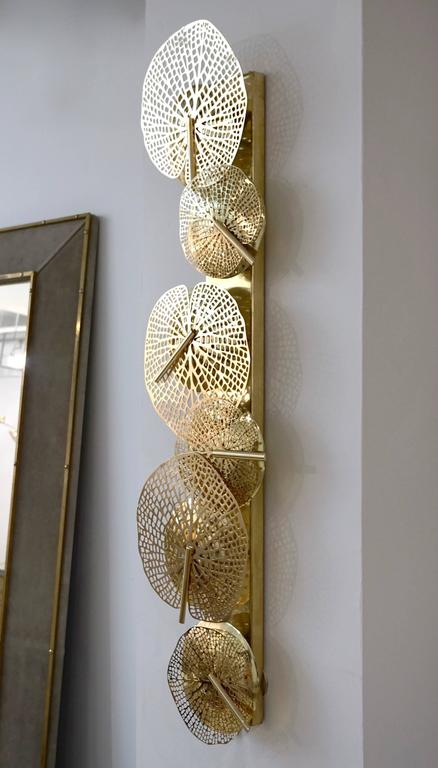 Hand-Crafted Contemporary Organic Italian Design Pair of Perforated Brass Leaf Sconces For Sale